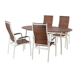 VINDALSÖ table+4 reclining chairs, outdoor, brown stained, white