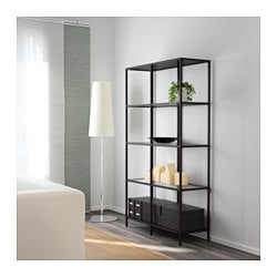VITTSJ Shelf Unit Black Brown Glass