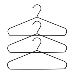 "STRYKIS hanger, black Width: 16 ¼ "" Package quantity: 3 pack Width: 41 cm Package quantity: 3 pack"