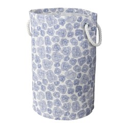 KLUNKA laundry bin, blue/white Height: 59 cm Volume: 60 l