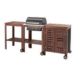 ÄPPLARÖ / KLASEN, Charcoal barbecue w trolley/cabinet, brown stained