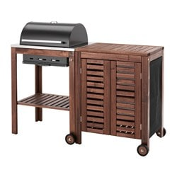 ÄPPLARÖ /  KLASEN charcoal barbecue with cabinet, brown stained Width: 145 cm Depth: 58 cm Height: 109 cm