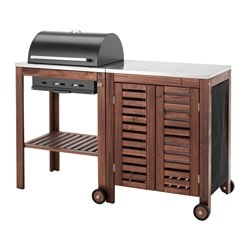 ÄPPLARÖ / KLASEN, Charcoal grill with cabinet, brown stained, stainless steel color