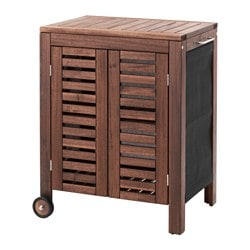 ÄPPLARÖ /  KLASEN storage cabinet, outdoor, brown stained Width: 77 cm Depth: 58 cm Height: 88 cm