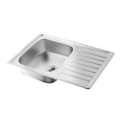 FYNDIG 1 bowl inset sink with drainer, stainless steel Length: 70 cm Depth: 50 cm Height: 16 cm