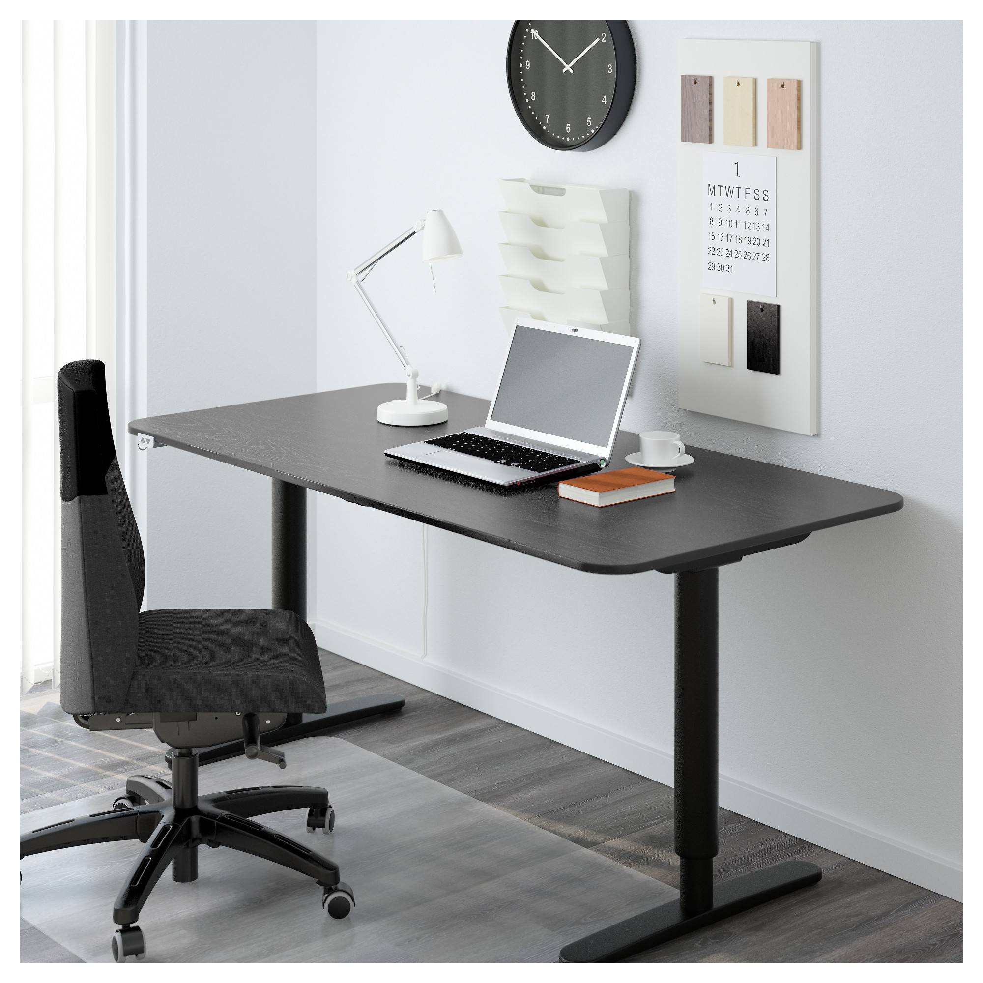 BEKANT Desk sitstand black brownwhite