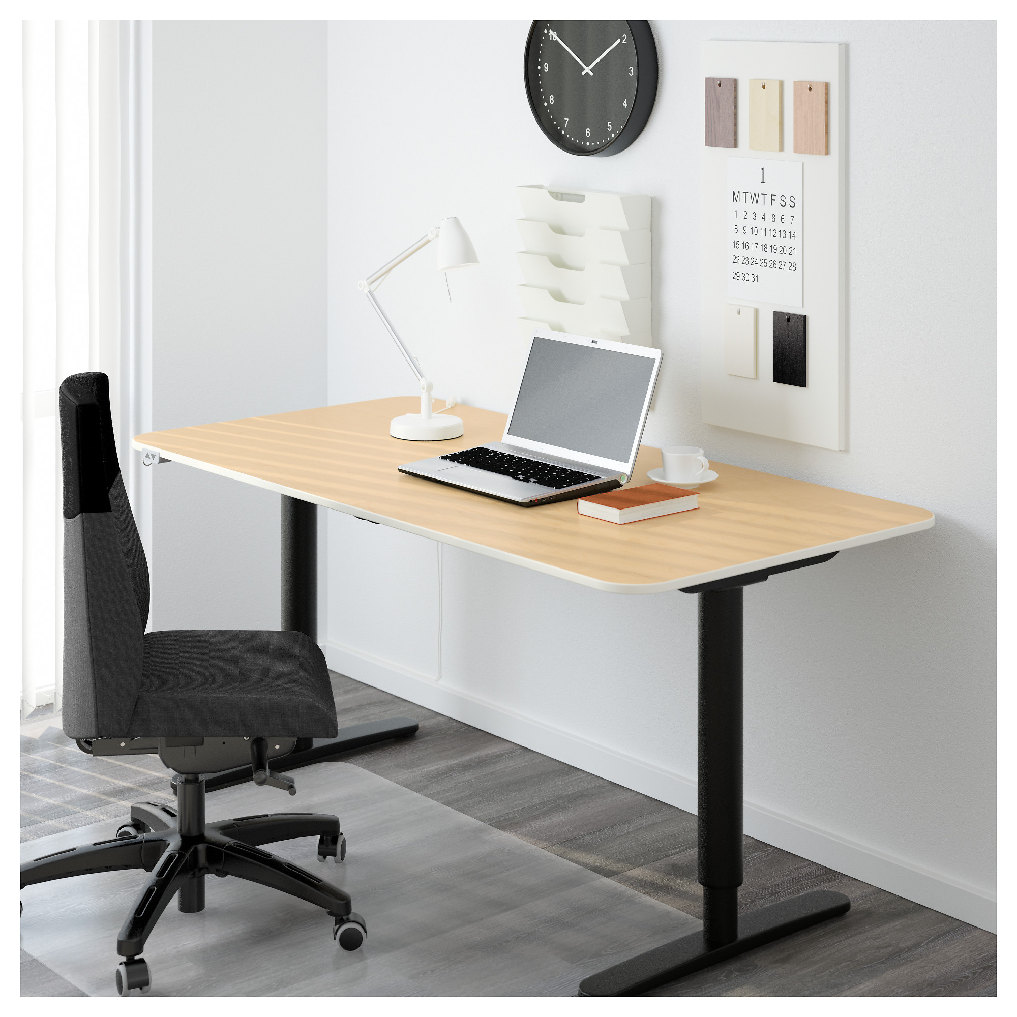 BEKANT Desk Sit/stand   Black Brown/white   IKEA