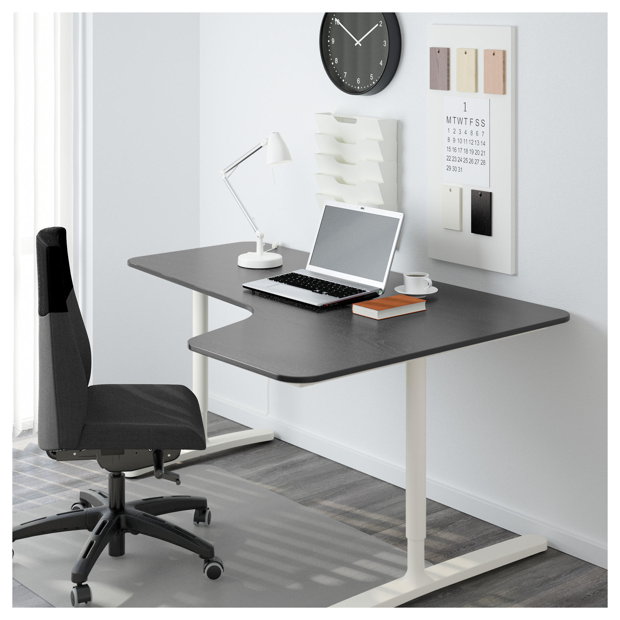 shaped cheap with killer office most drawers corner executive flair l black desk grey