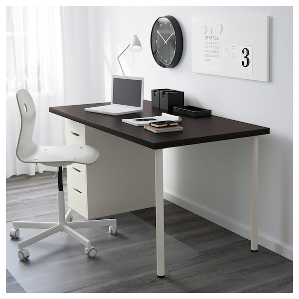 Bureau Ikea Blanc Alex.Table Linnmon Alex Brun Noir Blanc