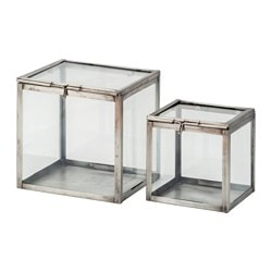 KOMBINERBAR decoration glass box, set of 2, black