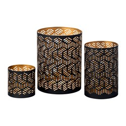 FÖRETE candle holder, set of 3, black