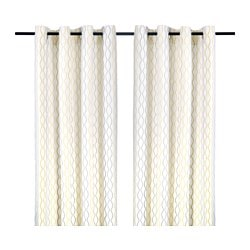 "HENNY RAND curtains, 1 pair, gray yellow, white Length: 118 "" Width: 57 "" Length: 300 cm Width: 145 cm"