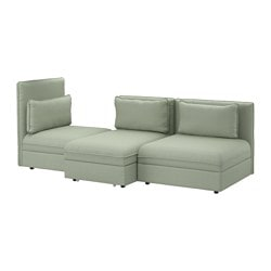 VALLENTUNA 3-seat sofa with bed, Hillared green