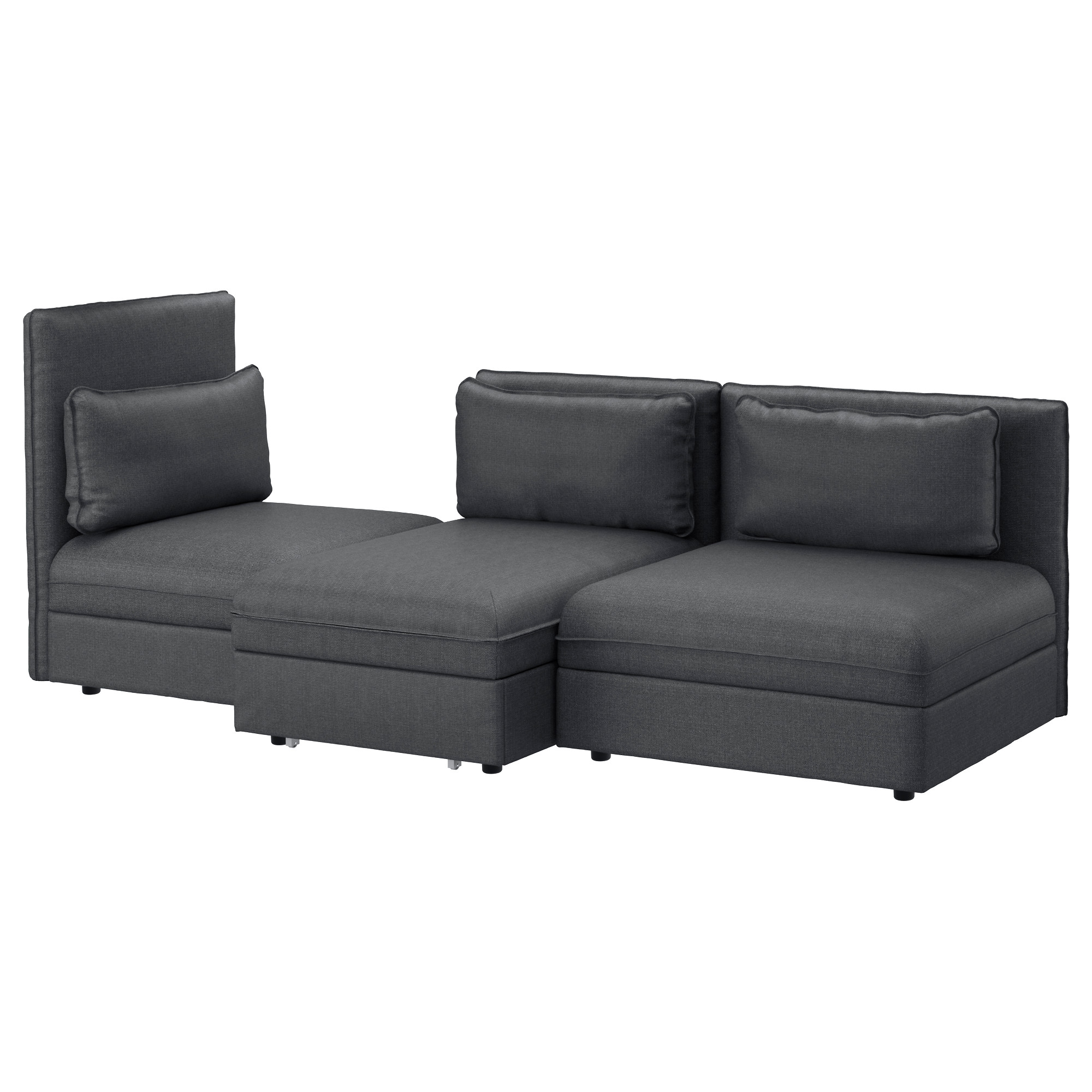 VALLENTUNA 3 seat sofa with bed Orrsta light grey Funnarp black