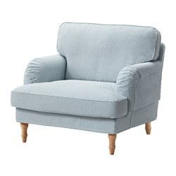 STOCKSUND armchair cover, Remvallen blue/white