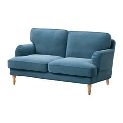 STOCKSUND two-seat sofa, Ljungen blue, light brown/wood Width: 154 cm Depth: 95 cm Seat depth: 58 cm