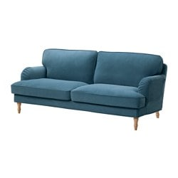 STOCKSUND, Sofa, Ljungen blue, light brown/wood