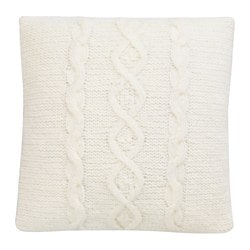 ISGATA cushion, knitted, white Length: 40 cm Width: 40 cm Filling weight: 250 g