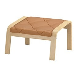 "POÄNG footstool cushion, Seglora natural Width: 23 5/8 "" Height: 20 7/8 "" Thickness: 2 3/8 "" Width: 60 cm Height: 53 cm Thickness: 6 cm"