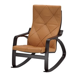 POÄNG rocking-chair, black-brown, Seglora natural Width: 68 cm Depth: 82 cm Height: 100 cm