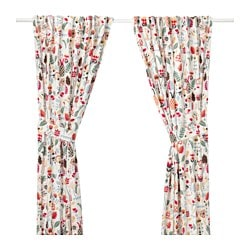 RÖDARV curtains with tie-backs, 1 pair, multicolour Length: 300 cm Width: 145 cm Weight: 0.95 kg