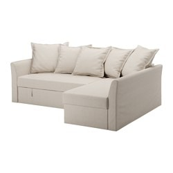 "HOLMSUND sleeper sectional, 3-seat, Nordvalla beige Height including back cushions: 37 3/4 "" Backrest height: 26 "" Depth chaise: 59 1/2 "" Height including back cushions: 96 cm Backrest height: 66 cm Depth chaise: 151 cm"