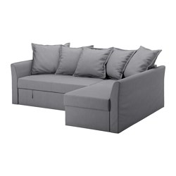 HOLMSUND cover for corner sofa-bed, Nordvalla medium gray