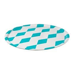 "FAVORIT tray, green diamond pattern Diameter: 22 "" Diameter: 56 cm"