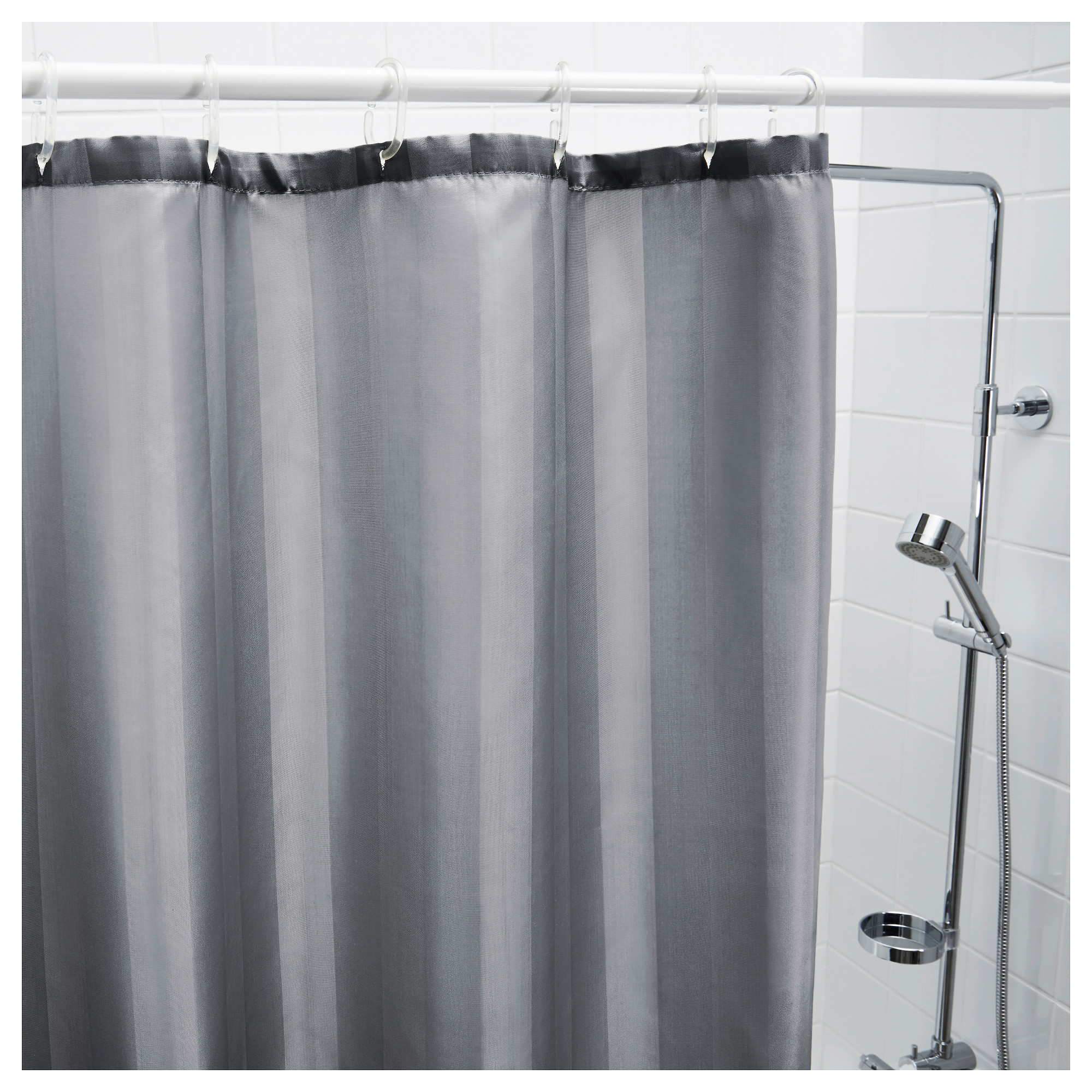 white and silver shower curtain.  SALTGRUND Shower curtain IKEA