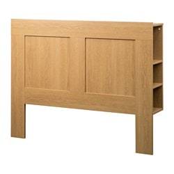 BRIMNES headboard with storage compartment, oak effect Width: 156 cm Depth: 28 cm Height: 111 cm