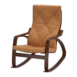 POÄNG rocking-chair, brown, Seglora natural Width: 68 cm Depth: 94 cm Height: 95 cm
