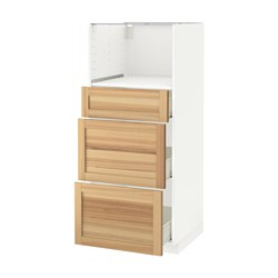 METOD /  FÖRVARA high cab for micro with 3 drawers, Torhamn ash, white Width: 60.0 cm Depth: 62.0 cm Frame, depth: 60.0 cm