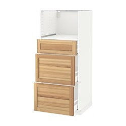 METOD /  MAXIMERA high cab for micro with 3 drawers, Torhamn ash, white Width: 60.0 cm Depth: 62.0 cm Frame, depth: 60.0 cm