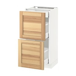 METOD /  MAXIMERA base cab with 2 fronts/3 drawers, Torhamn ash, white Width: 40.0 cm Depth: 39.6 cm Frame, depth: 37.0 cm