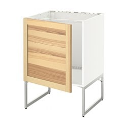 METOD base cabinet for sink, Torhamn ash, white Width: 60 cm Depth: 62.0 cm Frame, depth: 60 cm