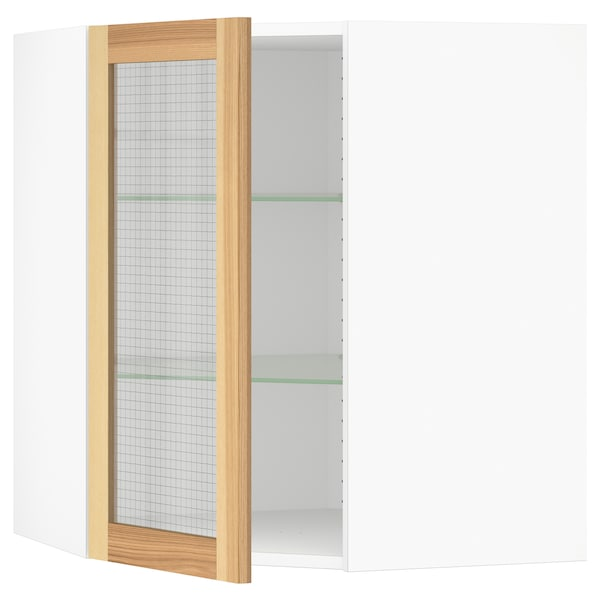 Corner Wall Cabinet With Gl Door Sektion White Torhamn Ash
