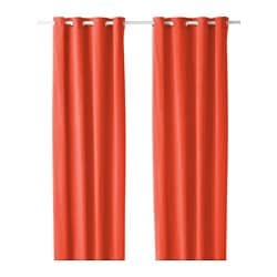 SANELA curtains, 1 pair, orange Length: 300 cm Width: 140 cm Weight: 2.60 kg