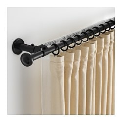 STORSLAGEN double curtain rod set, black