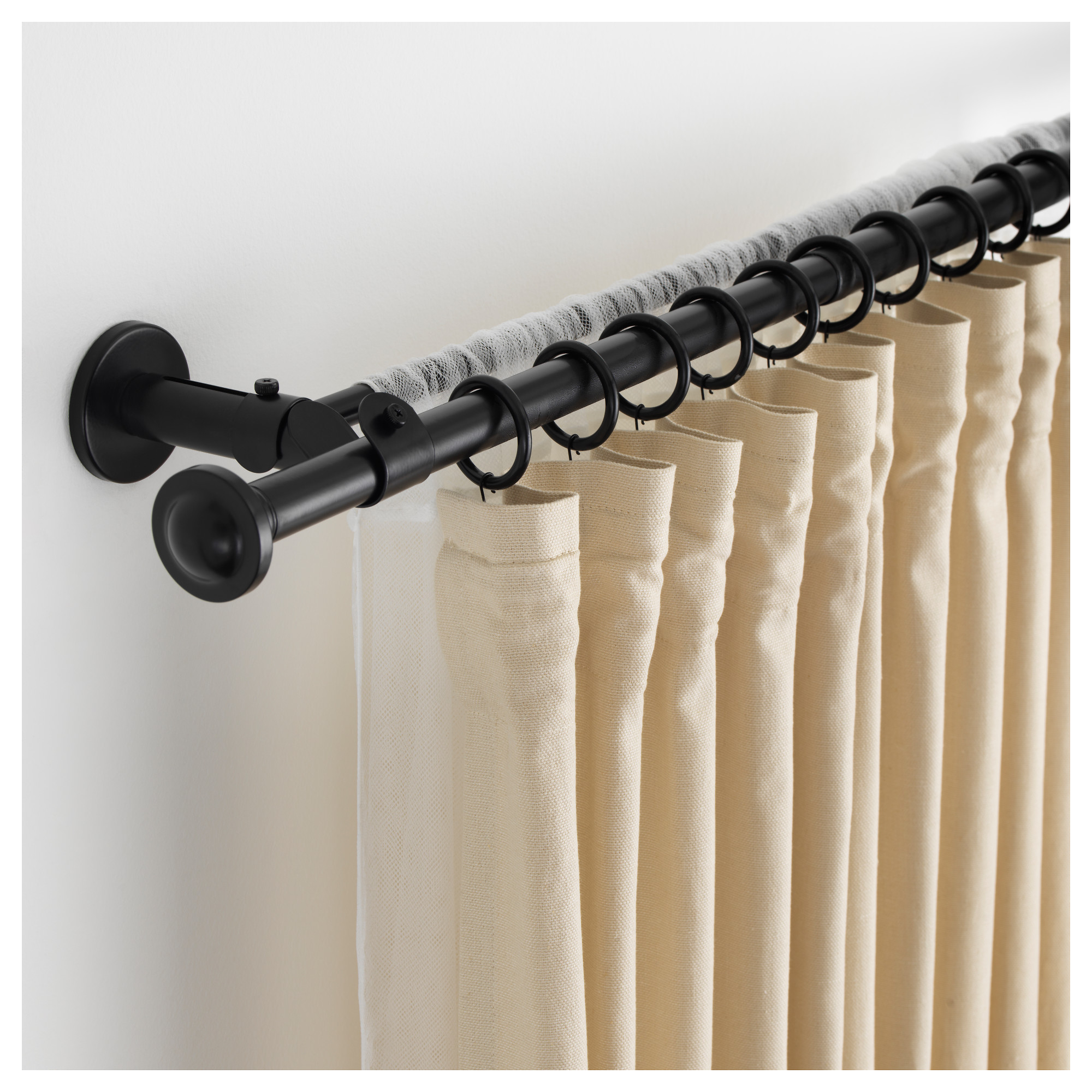 STORSLAGEN Double Curtain Rod Set, Black Min. Length: 47 1/4   Black Curtain Rod