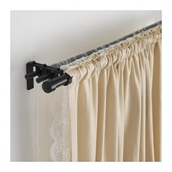 "RÄCKA / HUGAD triple curtain rod combination, black Min. length: 82 5/8 "" Max. length: 151 5/8 "" Min. length: 210 cm Max. length: 385 cm"