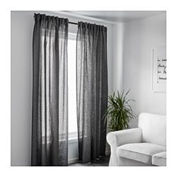AINA Curtains 1 Pair Dark Gray
