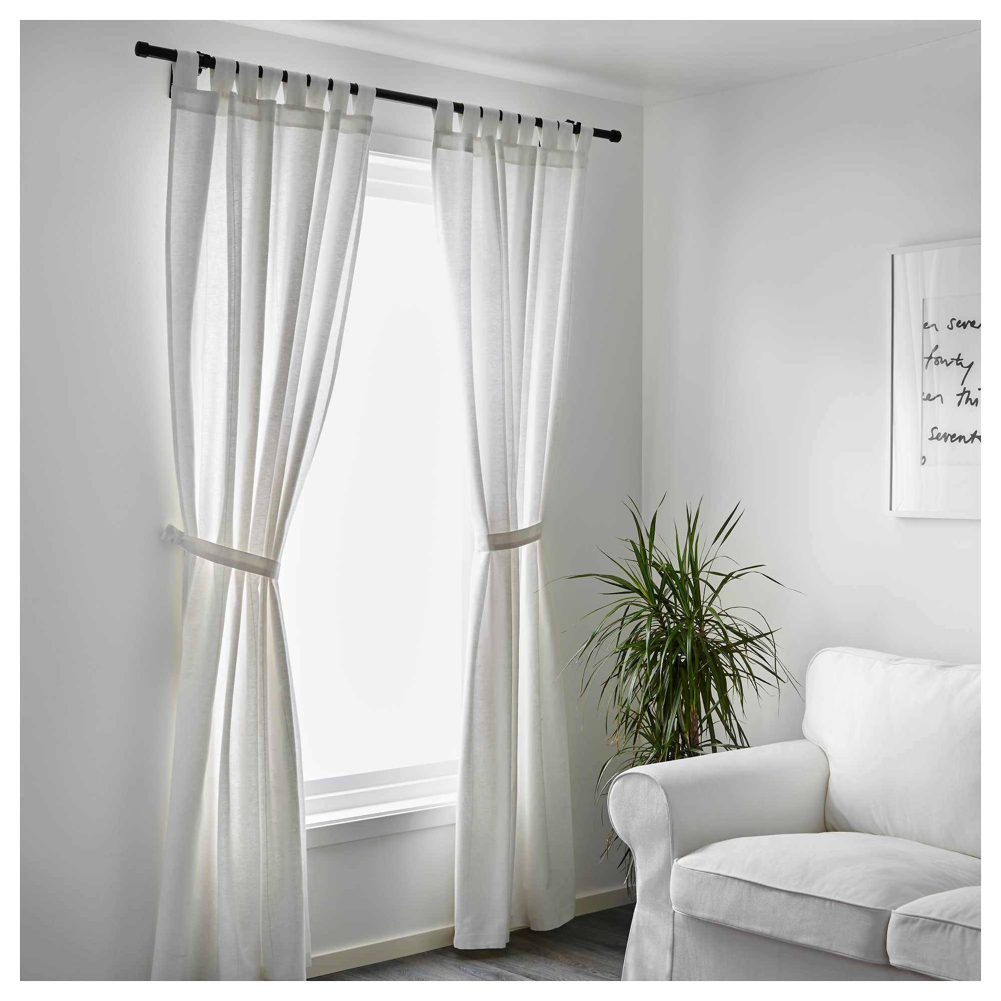 LENDA Curtains with tie-backs, 1 pair - 55x98 \