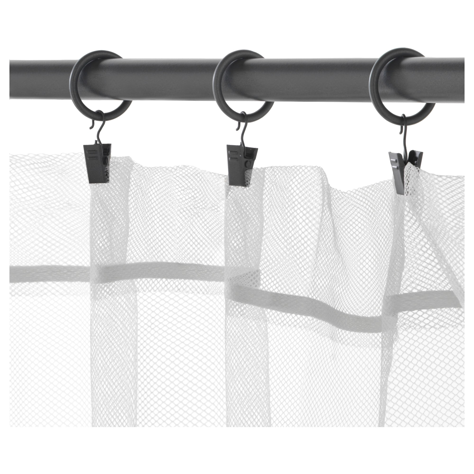 SYRLIG Curtain ring with clip and hook - black - IKEA