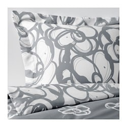 KLÄNGLILJA quilt cover and pillowcase, grey, white Quilt cover length: 200 cm Quilt cover width: 150 cm Pillowcase length: 50 cm