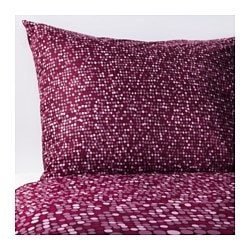 "SMÖRBOLL duvet cover and pillowcase(s), dark pink Thread count: 144 square inches Pillowcase quantity: 2 pack Duvet cover length: 86 "" Thread count: 144 square inches Pillowcase quantity: 2 pack Duvet cover length: 218 cm"