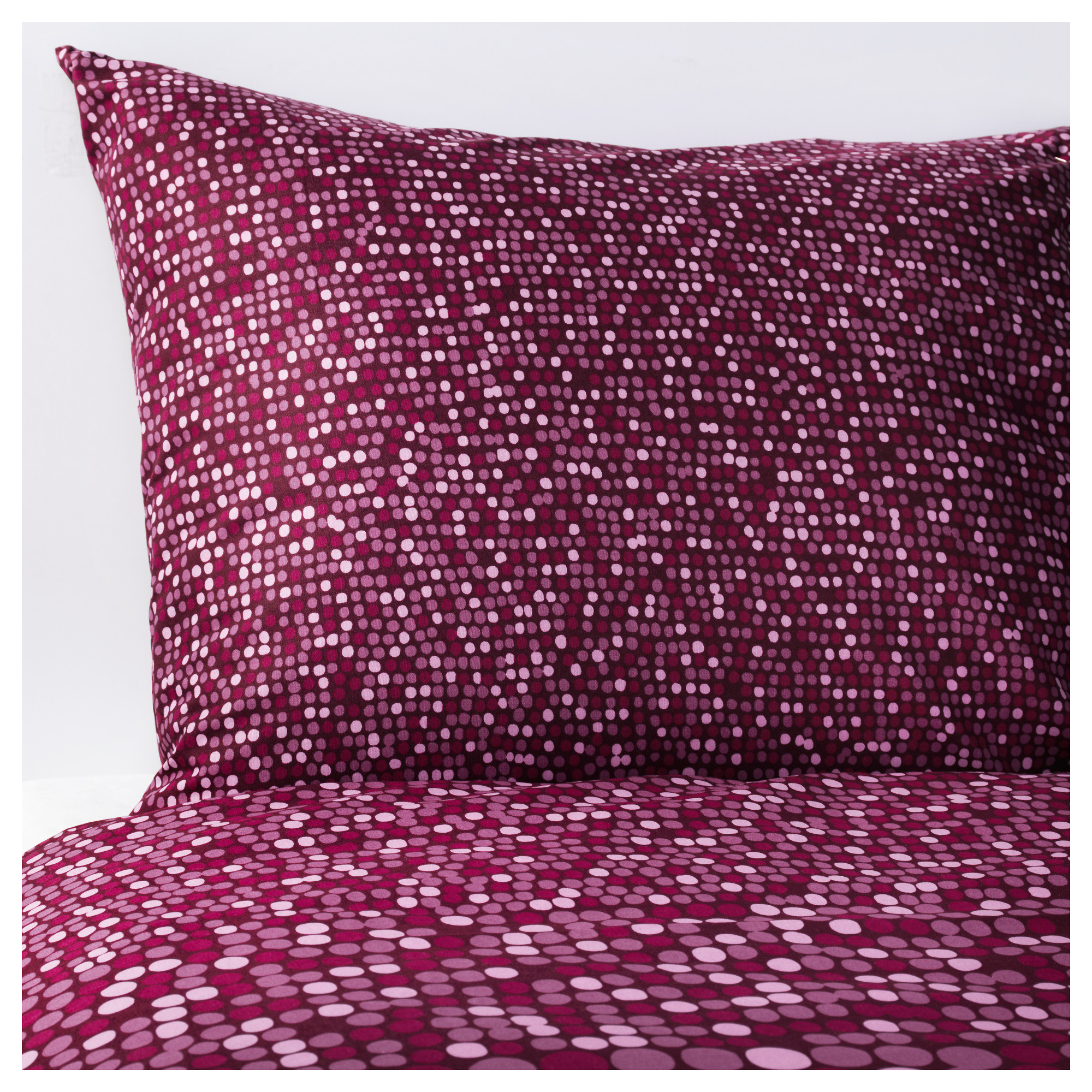 SMRBOLL duvet cover and pillowcase(s), dark pink Thread count: 144 /