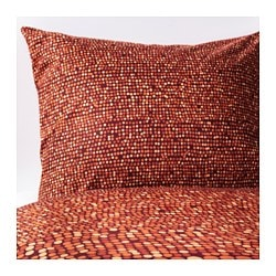 "SMÖRBOLL duvet cover and pillowcase(s), orange Thread count: 144 square inches Pillowcase quantity: 2 pack Duvet cover length: 86 "" Thread count: 144 square inches Pillowcase quantity: 2 pack Duvet cover length: 218 cm"