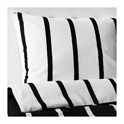 TUVBRÄCKA quilt cover and 2 pillowcases, black, white