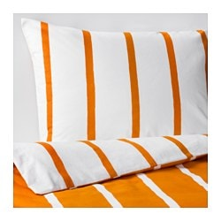 TUVBRÄCKA quilt cover and pillowcase, white, orange Quilt cover length: 200 cm Quilt cover width: 150 cm Pillowcase length: 50 cm