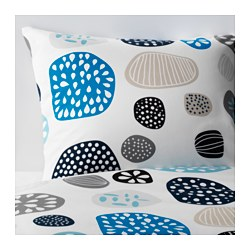 RINGKRAGE quilt cover and pillowcase, blue white, multicolour